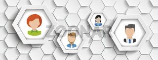 4 Human Faces Hexagon Structure Header