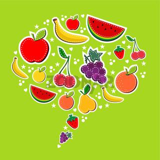 Fruits in social speech bubble