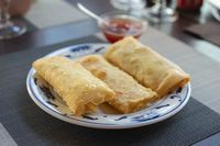Traditional spring rolls on white plate