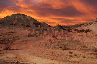 Sunset in desert.