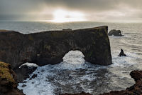 Natural arch of Dyrholaey in South Iceland