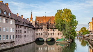 Hospice of the Holy Spirit and Pegnitz river in Nuremberg