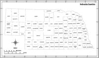 Nebraska state outline administrative and political vector map in black and white