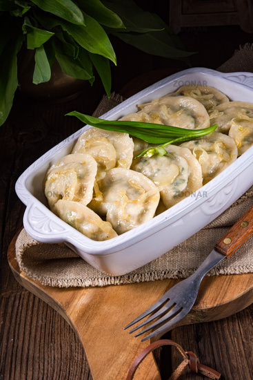 pierogo with wild garlic -cheese filling