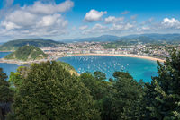 Aerial view of San Sebastian, Donostia, Spain on a beautiful summer day