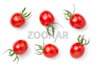 Organic Cherry Tomatoes Isolated On White Background