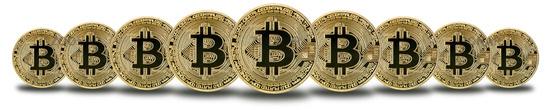 Bitcoin Krypto Währung online bezahlen digital Geld Kryptowährung Wirtschaft Finanzen Freisteller freigestellt in einer Reihe