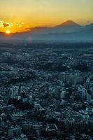 Yokohama city and Mount Fuji and dusk