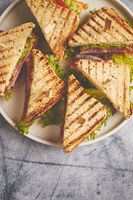 Tasty and fresh club sandwich served on white ceramic plate