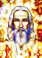 Art of old Jesus, Eye contact. Spiritual concept.