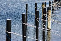 Bootstaue Seile am Anleger
