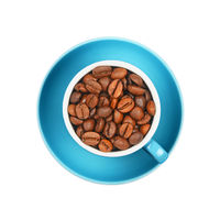 Cup of roasted coffee beans isolated on white