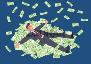 Successful man lying on money flat concept vector illustration