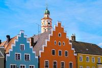 Storks in the historic city of Schrobenhausen