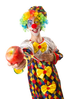 Funny clown on the white