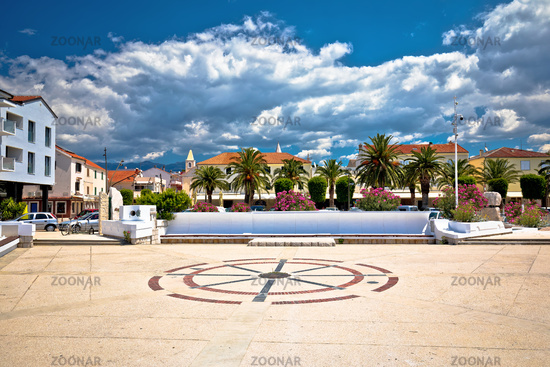 Old mediterranean town of Novalja square and architecture view, Island of Pag