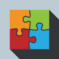multi-colored abstract jigsaw puzzle symbol