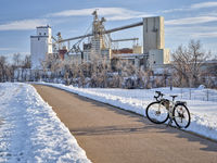 touring bicycle on a trail in winter scenery