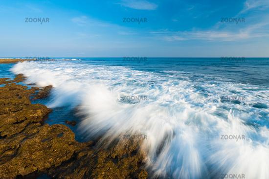 Waves Crashing Motion Blur Rocks Little Andaman