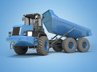 Construction machinery blue dump truck unloads from the trailer 3d rendering on blue background with shadow