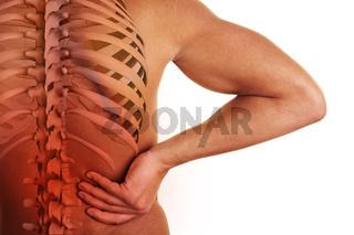 Schmerzender Rücken mit Wirbelsäule