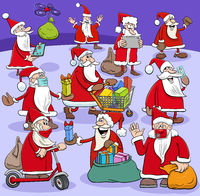 Santa Claus cartoon characters group with Christmas presents
