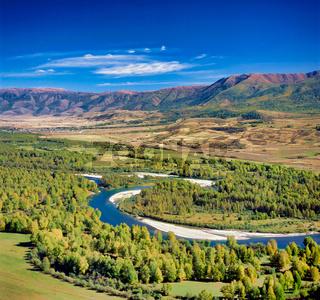 Buhtorma river, Kazakhstan, Asia, ,