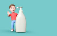 3D Cartoon Character with Soap Dispenser on Blue Background with Copy Space