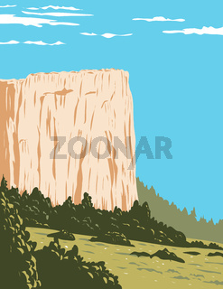 Inscription Rock a Sandstone Bluff in El Morro National Monument in Cibola County New Mexico  United States WPA Poster Art