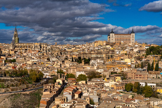 Toledo, Spain. Old city with its Royal Palace over the Tagus River sinuosity