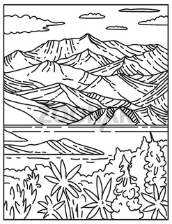 Wrangell-St. Elias National Park and Preserve Located in South Central Alaska United States Mono Line or Monoline Black and White Line Art
