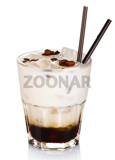 White russian alcohol cocktail isolated on white