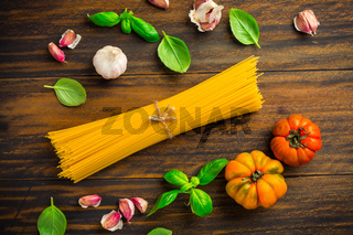 Ingredients for mediterranean pasta dish - spaghetti