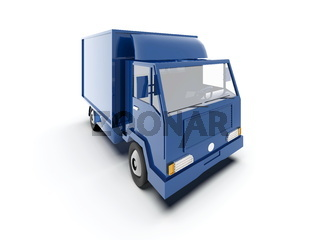 Blue Toy Commercial Delivery Truck on a White Background