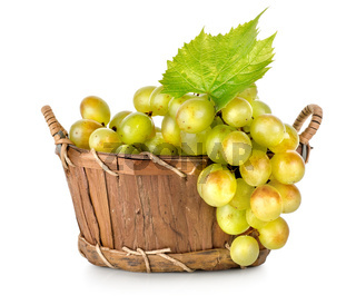 Grapes in a wooden basket isolated