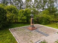 Old metal bust of Konev on motherland
