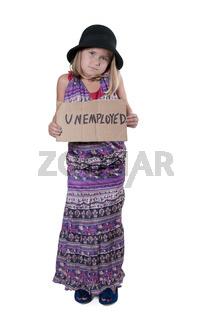 Little Girl Holding an Unemployment Sign