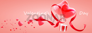 Happy Valentine's day. Congratulatory background with heart shaped air balloon. 3d Illustration