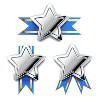 Bright silver awards in star shape with blue tape, glossy winner badges isolated on white