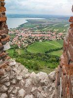 Devicky castle window into landscape of Nove Mlyny dam, South Moravia, Czechia