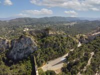Aerial view to Xativa castle located on mountain top. Spain