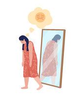Obese teen sad girl semi flat color vector character