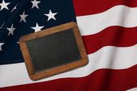Vintage slate chalk board US American flag