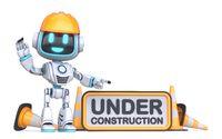 Cute blue robot under construction sign 3D