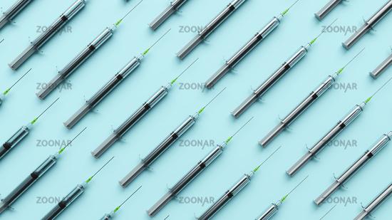 many syringe at a table