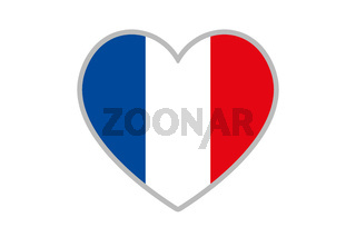 French flag in heart shape