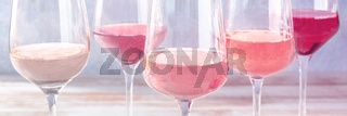 Pink wine, various shades, toned panorama