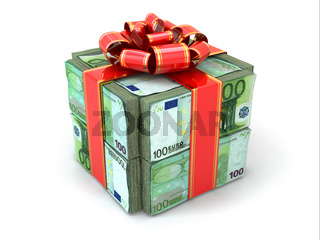 Money gift. Pack of euros and red ribbon.