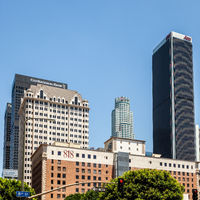 LOS ANGELES, CALIFORNIA, USA - JULY 28 :Tower blocks in the  financial district of Los Angeles California on July 28, 2011
