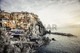 View of Manarola. Manarola is a small town in the province of La Spezia, Liguria, northern Italy.